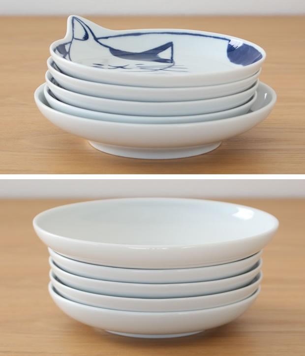 neco皿 5枚セット 木箱入り 波佐見焼 猫皿 ねこ皿 磁器 石丸陶芸