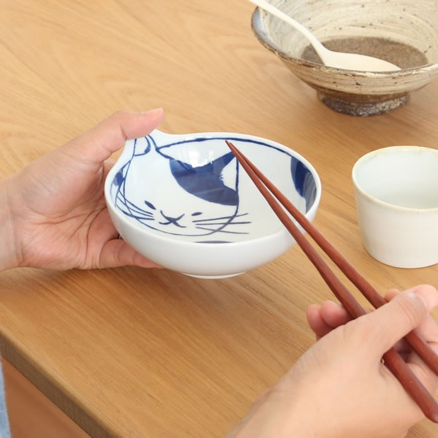 neco鉢 4枚セット 木箱入り 波佐見焼 猫皿 ねこ皿 磁器 石丸陶芸