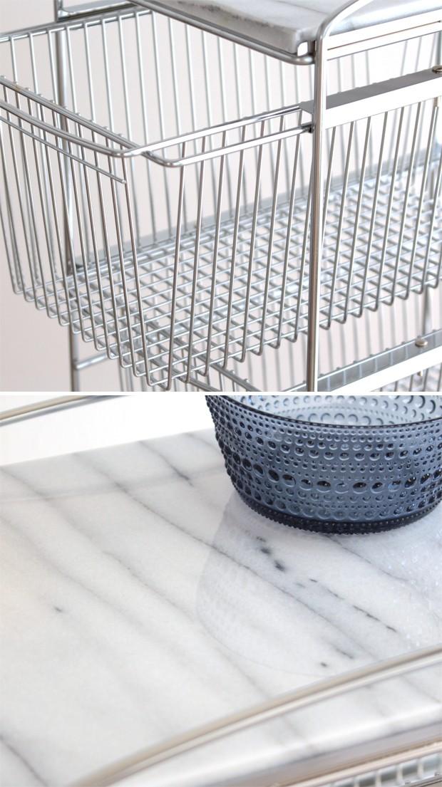 マーブルトップ 3D スリムトローリー キッチンワゴン 3段 キャスター付き 天然大理石 収納ラック ASPLUND アスプルンド