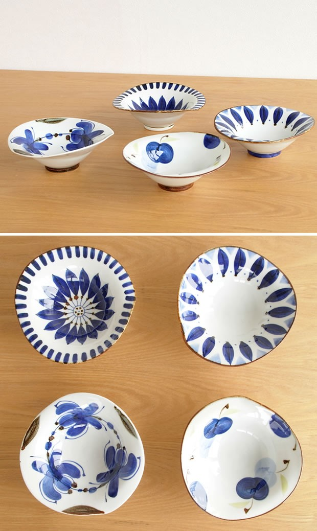 波佐見焼 HASAMI 翔芳窯 藍の器 変形中鉢 16cm