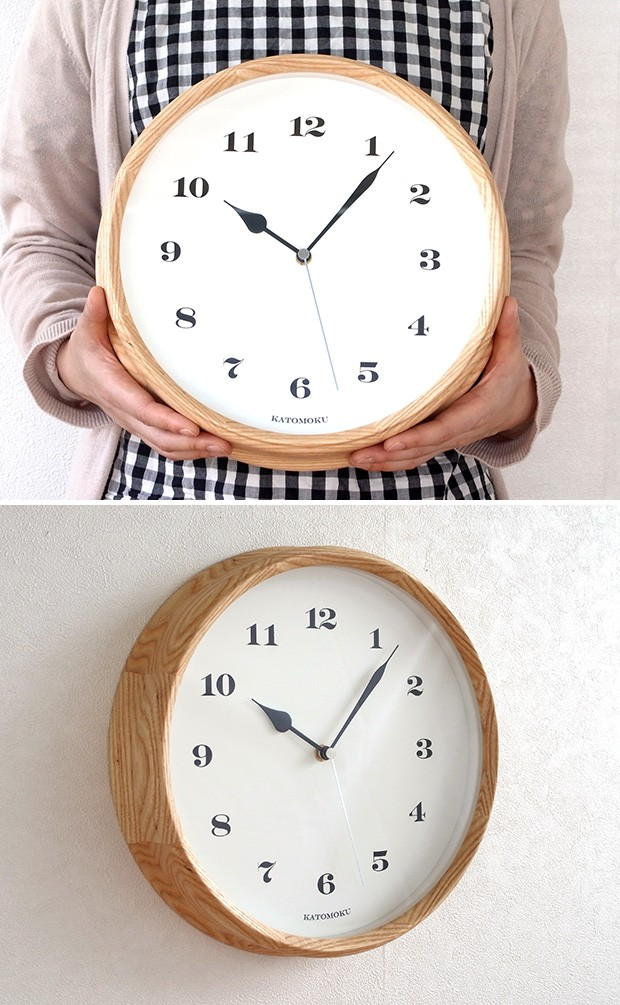 KATOMOKU muku round wall clock 3 ナチュラル