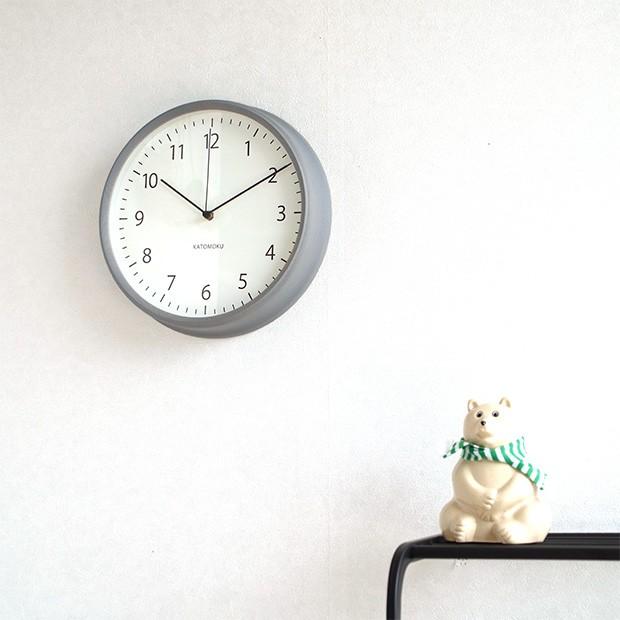 KATOMOKU muku round wall clock 4 グレー