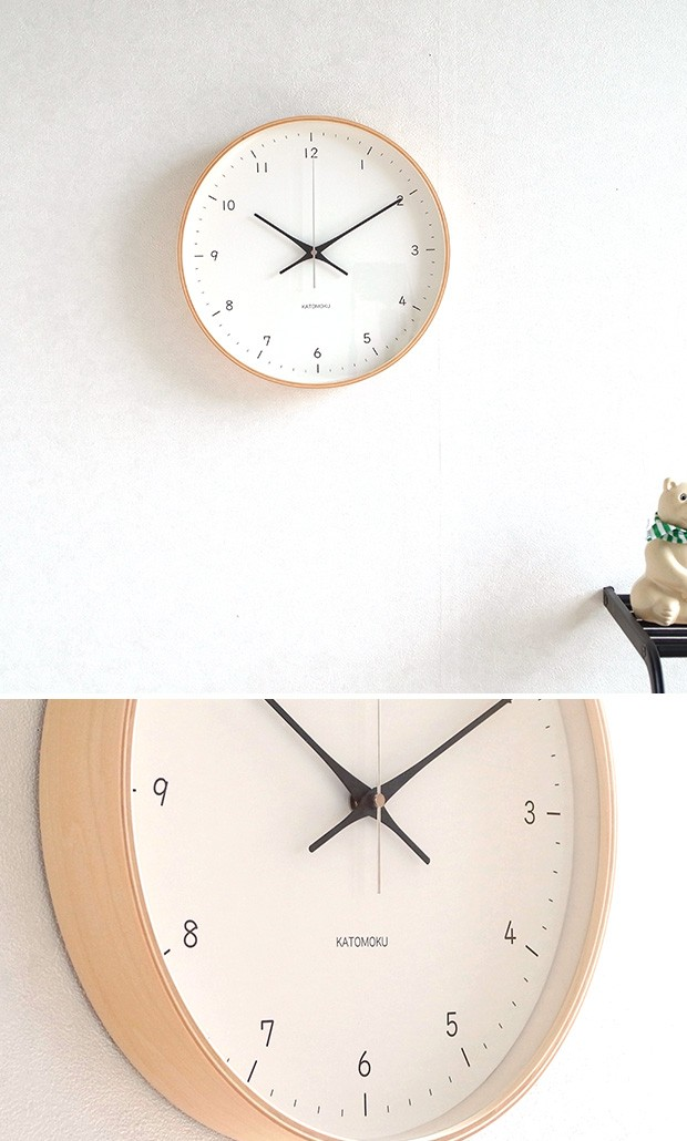 KATOMOKU plywood wall clock 12  ナチュラル