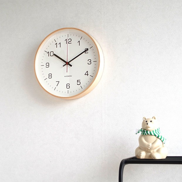 KATOMOKU plywood wall clock 4 L ナチュラル