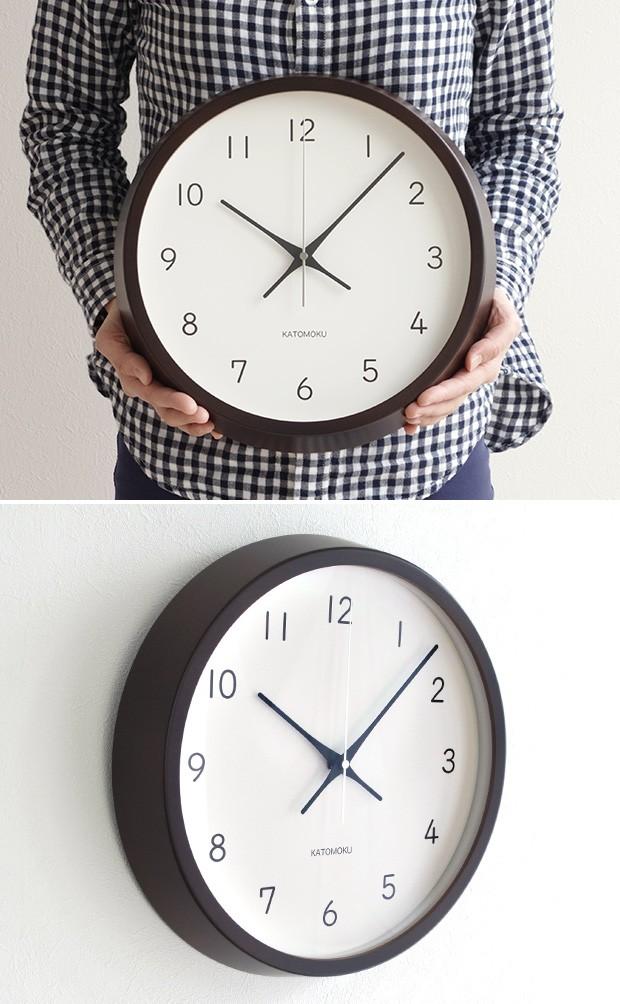 加藤木工 カトモク KATOMOKU muku round wall clock 13 ブラウン 電波時計 壁掛け スイープムーブメント