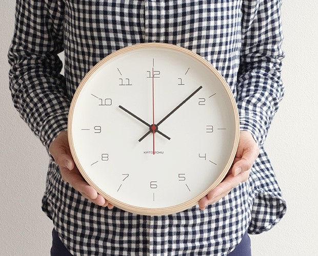 加藤木工 カトモク KATOMOKU plywood wall clock 16 ナチュラル 掛時計 壁掛け スイープムーブメント 連続秒針 電波時計