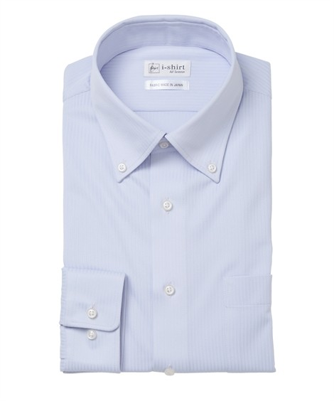 トップス・ワイシャツ ノーアイロン長袖ストレッチiシャツ 伸びる ビジネス ワイシャツ M-10L ボタンダウン 大きいサイズ メンズ はるやま i-Shirt アイシャツ ニッセン(ブルー)