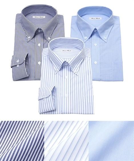 トップス・ワイシャツ 長袖ワイシャツ3枚セット メンズ M-8L ボタンダウン 抗菌防臭・形態安定長袖ワイシャツ3枚組 まとめ買いでお買い得! 大きいサイズ メンズ ニッセン(紺ストライプ+白×サックスストライプ)