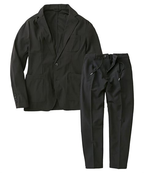 スーツ・スラックス|セットアップスーツ メンズ M-4L ストレッチ素材セットアップスーツ(ジャケット+パンツ) 大きいサイズ メンズ 上下セットでお買い得! ニッセン(黒)
