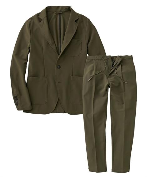 スーツ・スラックス|セットアップスーツ メンズ M-4L ストレッチ素材セットアップスーツ(ジャケット+パンツ) 大きいサイズ メンズ 上下セットでお買い得! ニッセン(カーキ)