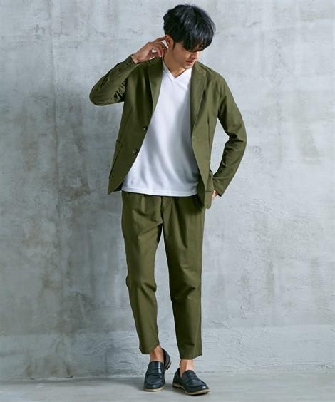 スーツ・スラックス セットアップ スーツ メンズ M-LL 微起毛素材カジュアルセットアップスーツ(ジャケット+ツータックパンツ) 上下セットでお買い得! ニッセン(カーキ)