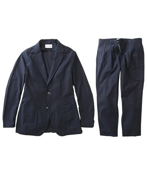 スーツ・スラックス セットアップ スーツ メンズ M-LL 微起毛素材カジュアルセットアップスーツ(ジャケット+ツータックパンツ) 上下セットでお買い得! ニッセン(ネイビー)