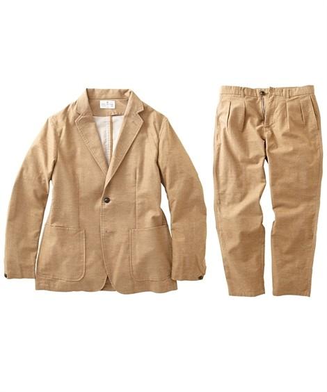 スーツ・スラックス セットアップ スーツ メンズ M-LL 微起毛素材カジュアルセットアップスーツ(ジャケット+ツータックパンツ) 上下セットでお買い得! ニッセン(ブラウン)