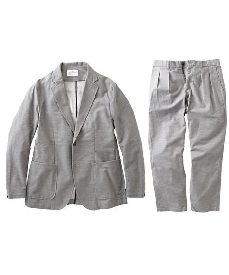 スーツ・スラックス セットアップ スーツ メンズ M-LL 微起毛素材カジュアルセットアップスーツ(ジャケット+ツータックパンツ) 上下セットでお買い得! ニッセン(グレー)