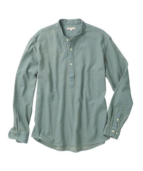 トップス・ワイシャツ|ノーカラーでこなれ感ある デニムプルオーバー メンズ M-10L どんなアイテムにも合わせ易く飽きのこないデザイン 大きいサイズ メンズ トップス ニッセン(ブルー)