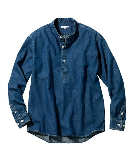 トップス・ワイシャツ|ノーカラーでこなれ感ある デニムプルオーバー メンズ M-10L どんなアイテムにも合わせ易く飽きのこないデザイン 大きいサイズ メンズ トップス ニッセン(紺)