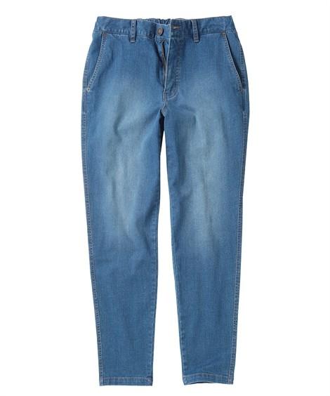 ジーンズ(デニム)パンツ ストレッチ素材で動きやすい! 後ポケット合皮使いストレッチデニムパンツ メンズ M-10L 洗濯機で洗えるので汚れてもOK! 大きいサイズ メンズ ニッセン(ブルー)