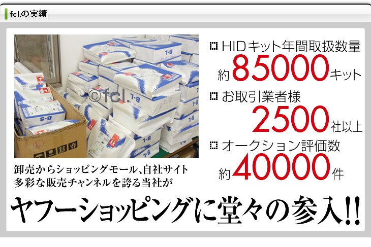 HIDキット年間取扱数量約60000キット