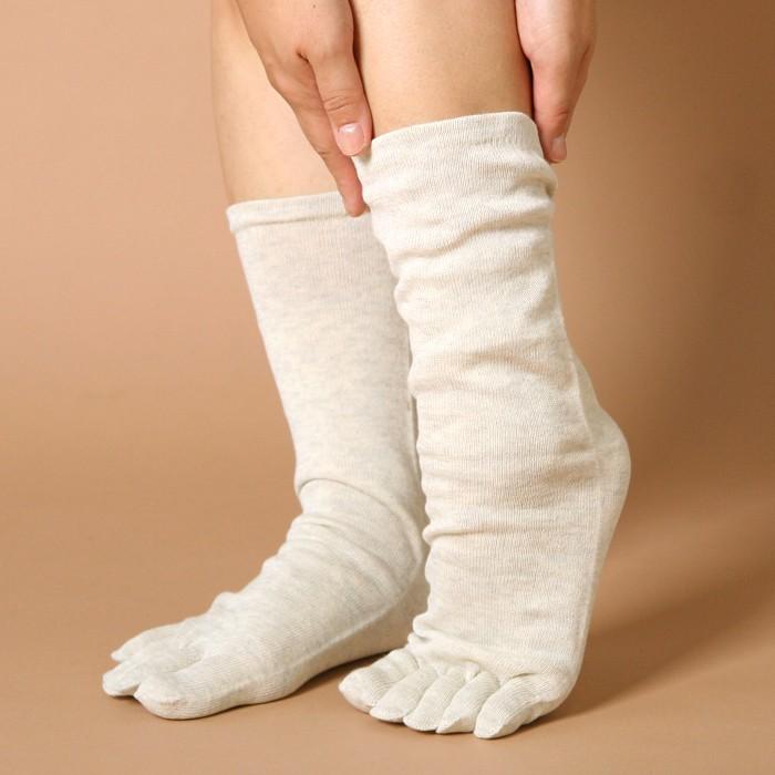 冷えとり2足目用 コットンの5本指靴下 かかとなし(4073)【nukunuku】【メール便可】