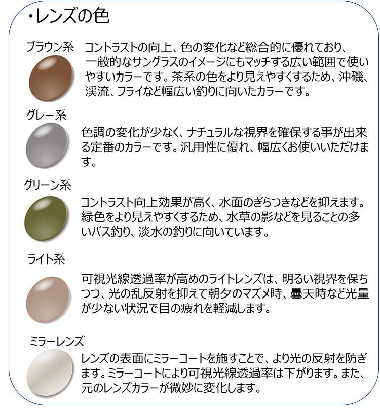 偏光サングラスの選び方,レンズの色について,レンズカラー