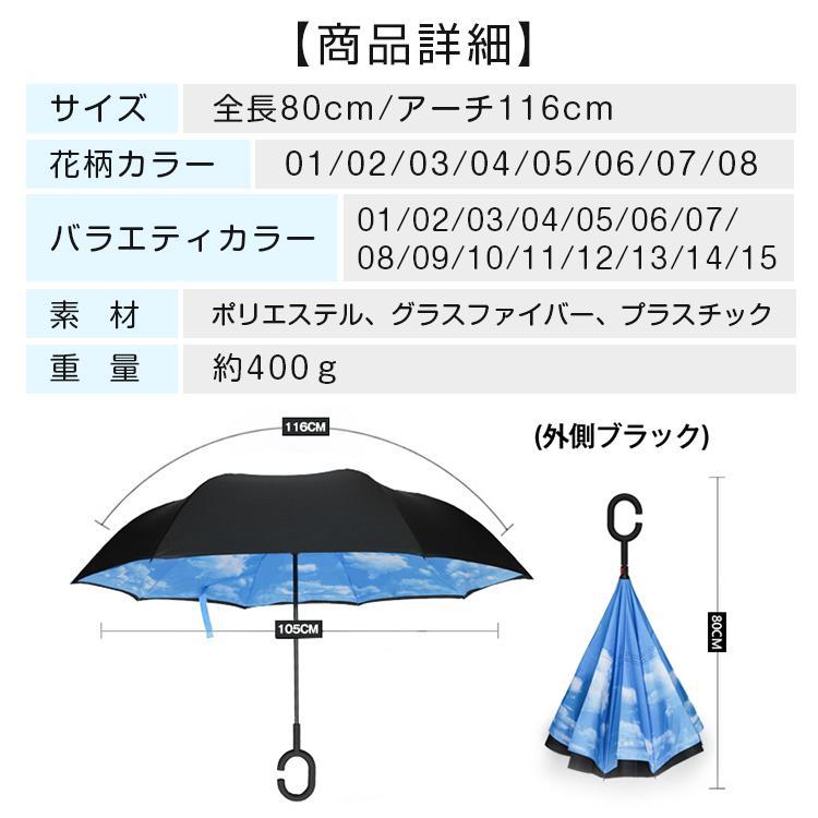 逆さ傘 傘 晴雨兼用 日傘 逆さになる傘 さかさま傘 レディース メンズ 日焼け対策 UVカット 逆折り 逆向き 長傘 濡れない zk095|fkstyle|30