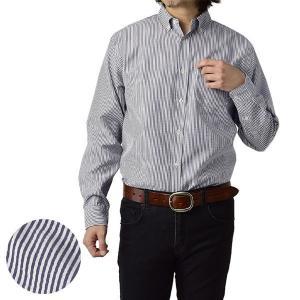 長袖シャツ メンズ ボタンダウンシャツ チェック ストライプシャツ トップス イージーケア 簡単アイロン A3H【パケ2】 セレクトカジュアル FLAG ON CREW