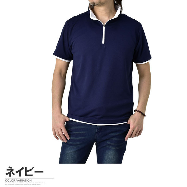 ポロシャツ メンズ 半袖 吸汗速乾 ドライ ストレッチ カットソー ハーフジップ ゴルフウェア UV B3M【パケ1】|flagon|17