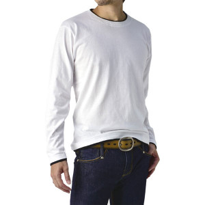 長袖Tシャツ メンズ ロンT 無地 カットソー フェイクレイヤード 配色 クルーネック ロングT B5O【パケ2】 FLAG ON CREW
