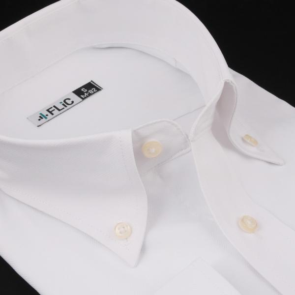 ノーアイロン ドライ ストレッチ ワイシャツ メンズ 長袖 形態安定 吸水速乾 織柄 ホリゾンタル ボタンダウン ショートワイド ストライプ 大きいサイズ|flic|22