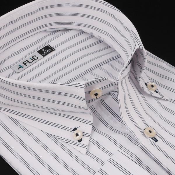 ノーアイロン ドライ ストレッチ ワイシャツ メンズ 長袖 形態安定 吸水速乾 織柄 ホリゾンタル ボタンダウン ショートワイド ストライプ 大きいサイズ|flic|28