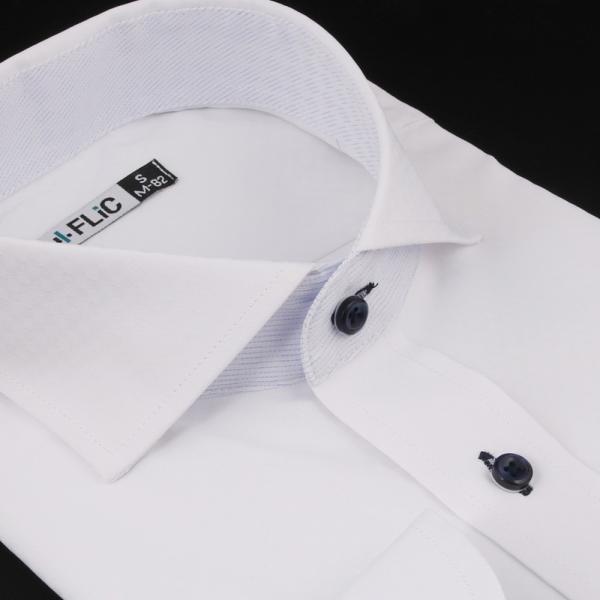 ノーアイロン ドライ ストレッチ ワイシャツ メンズ 長袖 形態安定 吸水速乾 織柄 ホリゾンタル ボタンダウン ショートワイド ストライプ 大きいサイズ|flic|23
