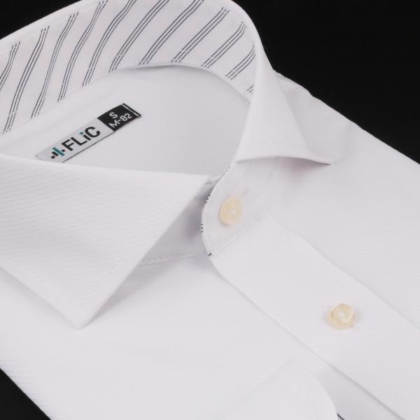 ノーアイロン ドライ ストレッチ ワイシャツ メンズ 長袖 形態安定 吸水速乾 織柄 ホリゾンタル ボタンダウン ショートワイド ストライプ 大きいサイズ|flic|24