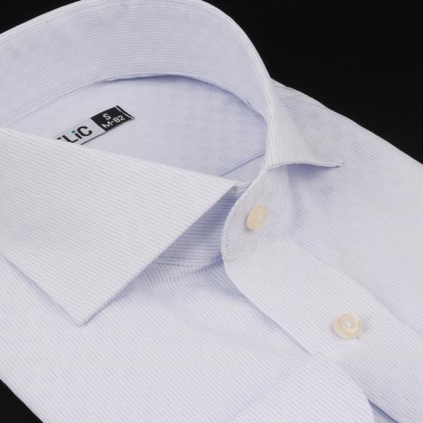 ノーアイロン ドライ ストレッチ ワイシャツ メンズ 長袖 形態安定 吸水速乾 織柄 ホリゾンタル ボタンダウン ショートワイド ストライプ 大きいサイズ|flic|29