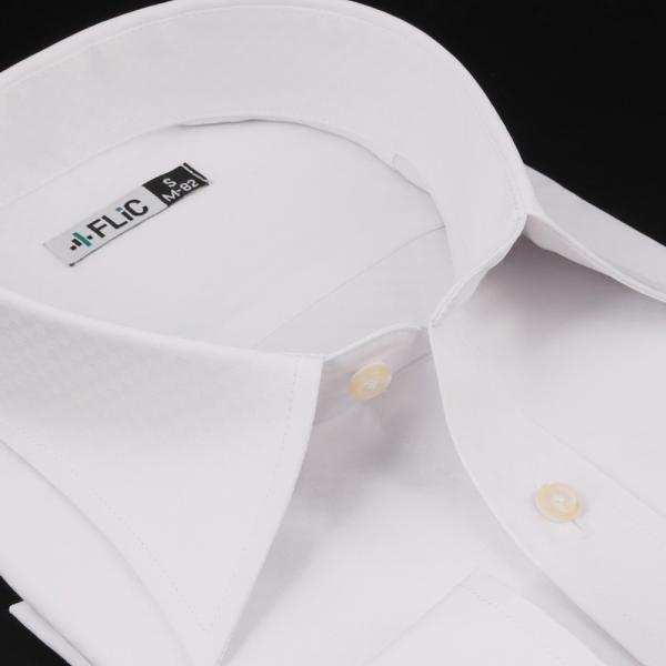 ノーアイロン ドライ ストレッチ ワイシャツ メンズ 長袖 形態安定 吸水速乾 織柄 ホリゾンタル ボタンダウン ショートワイド ストライプ 大きいサイズ|flic|19