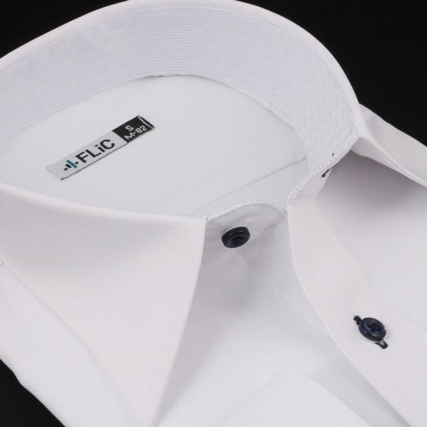 ノーアイロン ドライ ストレッチ ワイシャツ メンズ 長袖 形態安定 吸水速乾 織柄 ホリゾンタル ボタンダウン ショートワイド ストライプ 大きいサイズ|flic|20