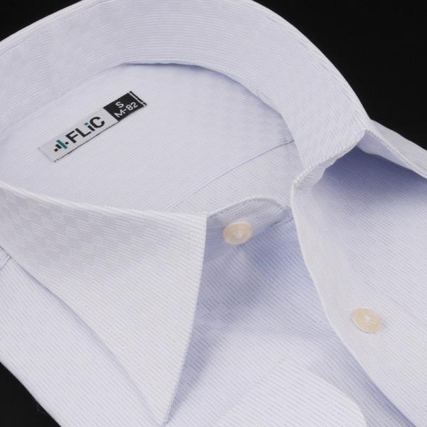 ノーアイロン ドライ ストレッチ ワイシャツ メンズ 長袖 形態安定 吸水速乾 織柄 ホリゾンタル ボタンダウン ショートワイド ストライプ 大きいサイズ|flic|25