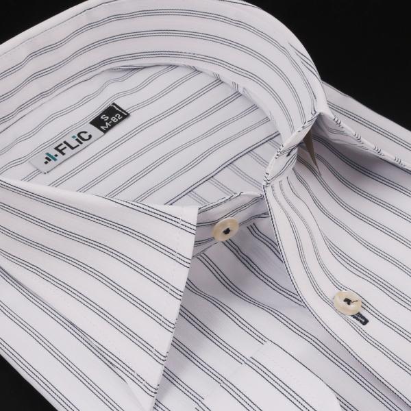 ノーアイロン ドライ ストレッチ ワイシャツ メンズ 長袖 形態安定 吸水速乾 織柄 ホリゾンタル ボタンダウン ショートワイド ストライプ 大きいサイズ|flic|26