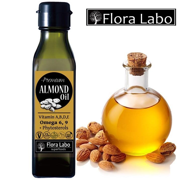 プレミアム スイートアーモンド・オイル 120mL [Flora Labo] アメリカ産|天然無添加 食用アーモンド油|航空便で直輸入|PREMIUM NATURAL SWEET ALMOND OIL