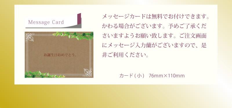 メッセージカードは無料でお付けできます。変わる場合がございます。予めご了承くださいますようお願いいたします。