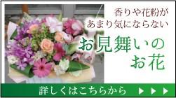 香りや花粉があまり気にならないお見舞いのお花。詳しくはこちら。