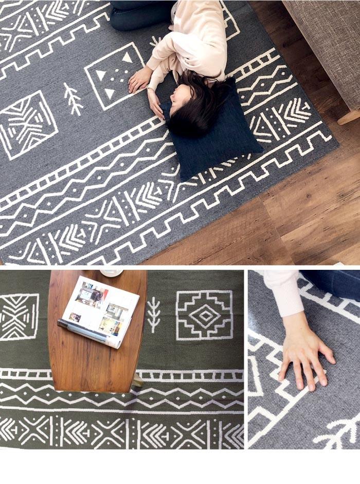 最近のトレンドの一つであるアフログラフィズム。アフリカと幾何学模様からくる造語です。エスニックな印象が特徴の幾何学模様が洗練されたお部屋に早変わりします。