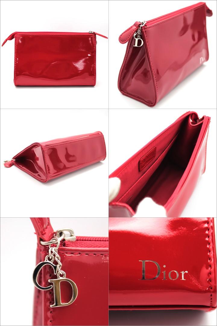 check out 5d5a0 817a3 クリスチャンディオール ポーチ Christian Dior コスメポーチ レッド ディオール ノベルティ 化粧ポーチ エナメル 限定