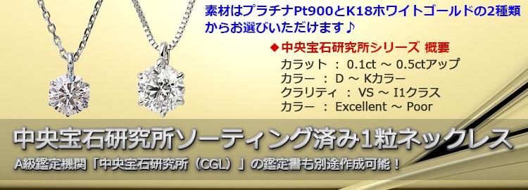 中央宝石研究所ソーティング済みダイヤモンドネックレス
