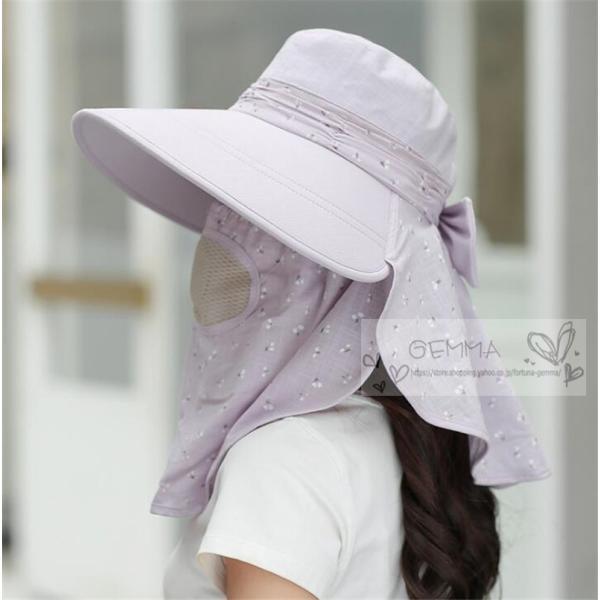 つば広帽子 レディース UVカットハット 紫外線対策 サンバイザー 取外し可 折畳み可 日焼け止め バックリボン アウトドア 春夏秋 オシャレ 新作|fortuna-gemma|13