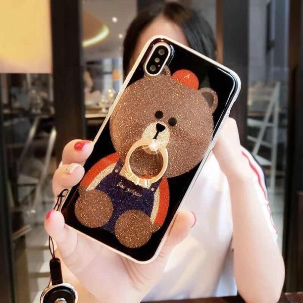 iPhone XR ケース カバー  iphoneXs Max iPhone XR iphoneXiphone7 8 iphone6sスマホケース カバー 熊リング付きアイフォンケース 携帯ケース|francekids|10