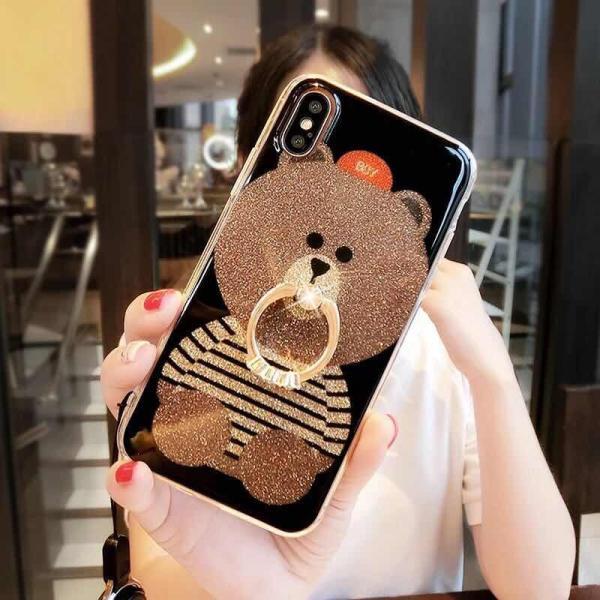 iPhone XR ケース カバー  iphoneXs Max iPhone XR iphoneXiphone7 8 iphone6sスマホケース カバー 熊リング付きアイフォンケース 携帯ケース|francekids|11