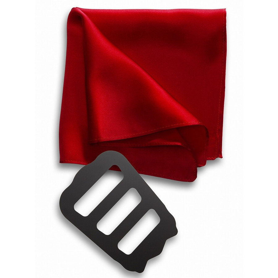 ポケットチーフ 結婚式 シルク100% スーツ ホルダー&折り方ガイド付き|freate|24