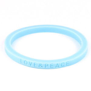 カラブレ シリコン ブレスレット LOVE&PEACE デザイン カラー ブレス ラブ&ピース シンプル スポーツ ダンス 重ね付け 平型【メール便対応】┃