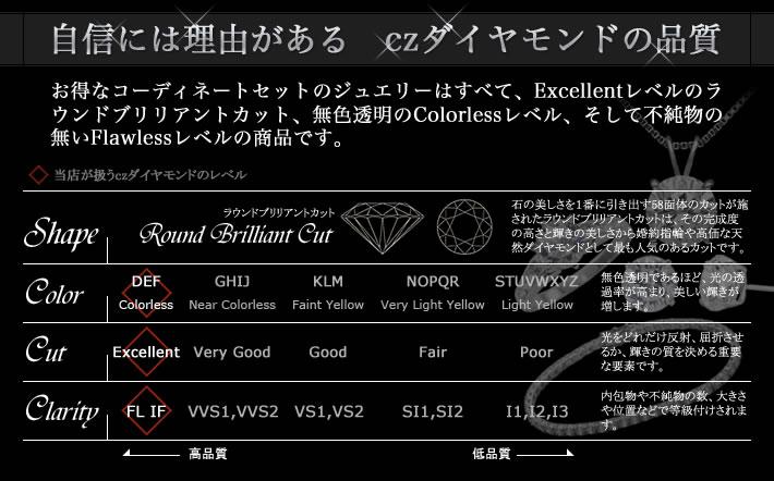自信には理由がある czダイヤモンドの品質 お得なコーディネートセットのジュエリーはすべて、Excellentレベルのラウンドブリリアントカット。無色透明のColorlessレベル、そして不純物の無いFlawlessレベルの商品です。