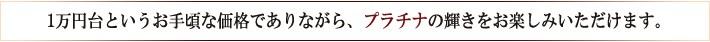 1万円台というお手頃な価格でありながらプラチナの輝きをお楽しみいただけます